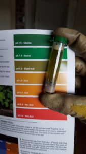 A test tube is held up by a gloved hand to a color chart. The color of the contents of the tube are olive green, a match on the chart for pH 6.5 Slight Acid.